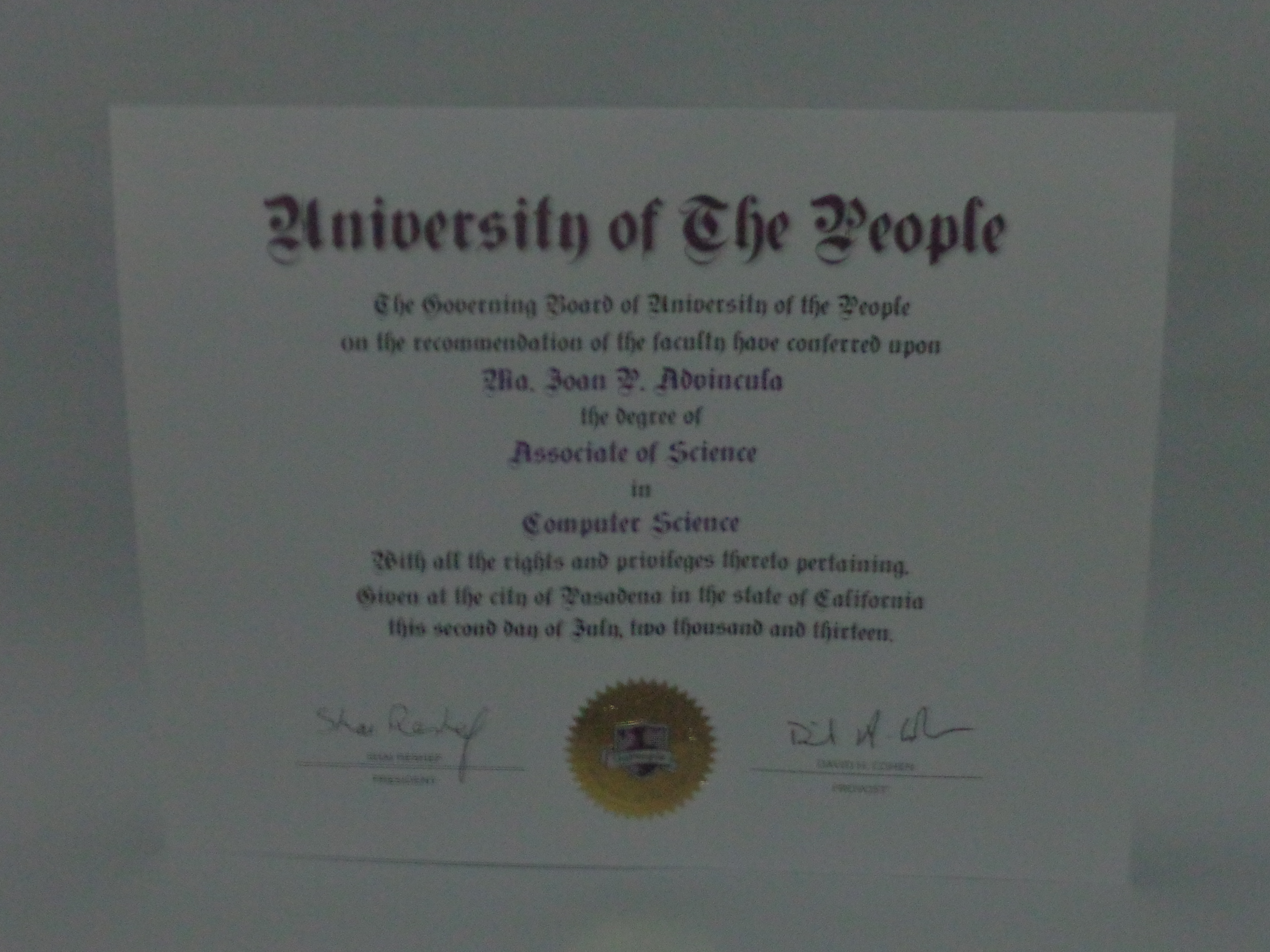 Proud to receive my uopeople diploma js log uopeople associate degree in computer science certificate 1betcityfo Images