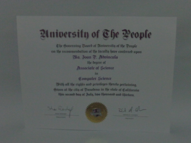 UoPeople Associate Degree in Computer Science certificate